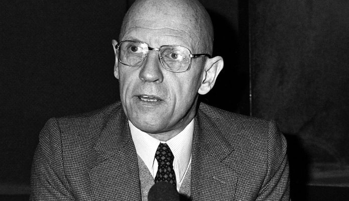 Portrait of French philosopher Michel Foucault taken on December 16, 1981 at the radio broadcast studio Europe 1 in Paris, France. (AP Photo/Alexis Duclos)